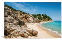 Wild beach in Vourvourou, Sithonia, Greece, Canvas Print