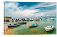Sunny view of boats, yachts from Nea Fokia, Halkid, Canvas Print