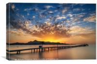 Puerto de Alcudia beach pier at sunrise in Mallorc, Canvas Print