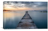 Puerto de Alcudia beach pier at sunrise in Mallorc, Canvas Print