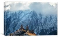 Caucasus mountains, Gergeti Trinity church, Georgi, Canvas Print