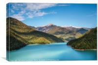 Jvari Reservoir Enguri River between the mountains, Canvas Print