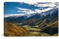 Valley of Enguri river at foot of mountains, Georg, Canvas Print