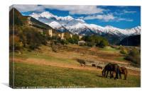 Horses against Svan towers in Mestia, Svaneti, Geo, Canvas Print