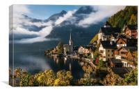 Scenic Hallstatt town in autumn, Austria, Canvas Print