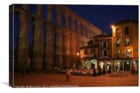 Cafe in Segovia in the evening, Canvas Print