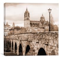 Cathedral and roman bridge in Salamanca, Spain, Canvas Print