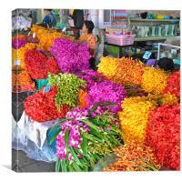 Flower Market, Bangkok, Thailand, Canvas Print