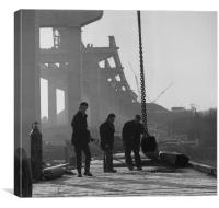 Men at work on the Medway Bridge, Canvas Print