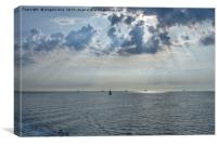 Sun-rays on the Solent., Canvas Print