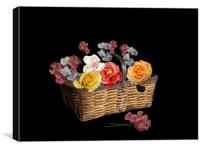 A basket of flowers, Canvas Print
