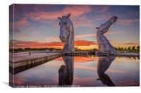 Sunset over The Kelpies, Canvas Print