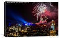 Edinburgh Castle Tattoo Fireworks, Canvas Print