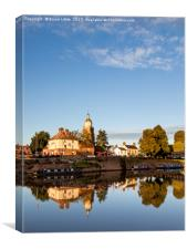 The riverside and Pepperpot at Upton-upon-Severn, Canvas Print