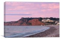 Pre-dawn pinks at Budleigh Salterton, Canvas Print