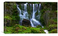 Waterfall in the mountain Park Wilhelmshöhe, Canvas Print