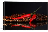 Black coffee and red chili in contrast , Canvas Print