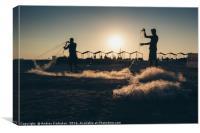 Fishermen at Sunset, Canvas Print