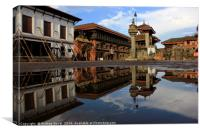 Bhaktapur Durbar Square's reflection on water, Canvas Print