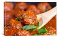 Freshly cooked meatballs in red sauce , Canvas Print