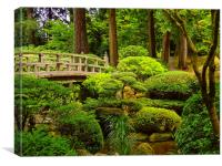 Wooden Foot Bridge at Japanese Garden, Canvas Print