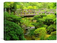Footbridge over a stream at the Japanese Gardens, Canvas Print