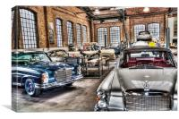 Vintage car Classic Remise workshop, Berlin, Canvas Print