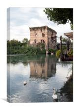 River Mincio and the Village of Borghetto, italy, Canvas Print