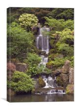 japanese garden waterfall, Canvas Print