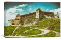 Rasnov Medieval Citadel In Romania, Canvas Print