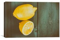Fresh Yellow Lemons On Wooden Table, Canvas Print