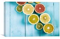 Orange, Grapefruit And Lemon Citrus Fruit Slices, Canvas Print