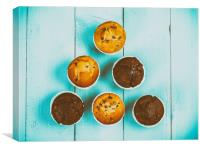 Homemade Chocolate Chip Muffins On Blue Table, Canvas Print