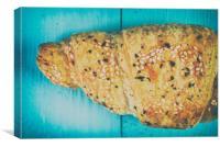 Croissant On Blue Table, Canvas Print
