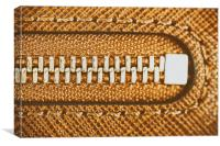 Zipper Closeup On Brown Leather Wallet, Canvas Print