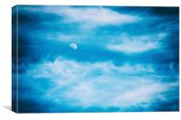 Moon Visible In Blue Sky With White Soft Clouds, Canvas Print