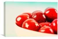 White Bowl Of Fresh Red Cherries, Canvas Print