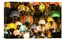 Beautiful Colored Arabian Lamps In Oriental Grand , Canvas Print