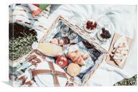 Picnic Basket With Fruits, Orange Juice, Croissant, Canvas Print