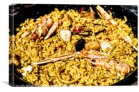 Traditional Valencian Paella With Rice And Seafood, Canvas Print