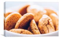 Italian Amaretti Biscuits In White Bowl, Canvas Print