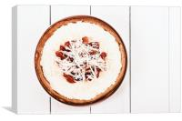 Homemade Strawberry Cheesecake On White Table, Canvas Print