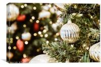 Colorful Christmas Tree Baubles Closeup, Canvas Print