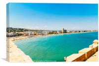 Panoramic Skyline View Of Peniscola City Beach Res, Canvas Print