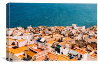 Aerial Panoramic View Of Peniscola City In Spain, Canvas Print