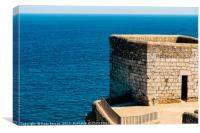 Old Castle Stone Wall And Tower With Ocean Backgro, Canvas Print