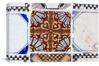 Neapolitan riggiola, a typical old tile, Canvas Print