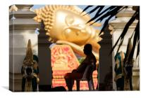 Silhouette monk and Buddha, Canvas Print