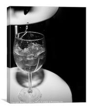 glass with ice cubes on white background, Canvas Print