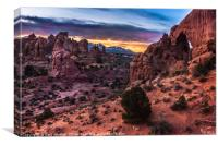 South Window Sandstone Arch At Sunrise, Canvas Print